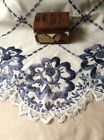 Crafts Embroidered Doily Cloth Runner Center Piece Blue Flowers
