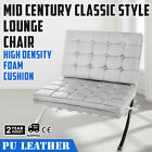 Mid Century Classic Style Leather Lounge Chair Steel Frame cushion optimal