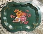 VTG Hand painted Green Toleware Tole Tray Flowers Small 13 x 10 Fine Arts Studio