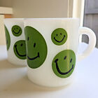 2 Vintage Milk Glass Mug Smiley Happy Face Hazel Atlas Coffee Cup 1970s Green