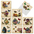 M6477OCB Fluttering Words 10 Assorted Blank All Occasion Note Cards Envelopes