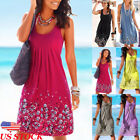 US Women Summer Boho Short Midi Dress Cocktail Evening Party Beach Sundress New