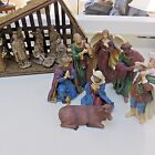 Nativity Scene w 2 Sets of Figures + Moss Covered Barn 15 Pieces Used