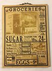 Vtg Antique Style GROCERY General Store Sign w/ Food Prices
