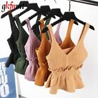 Sexy Stretchable Knit V Neck Crop Cami Tops Summer Style 2017 Vogue Plain Women