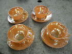 VINTAGE FIRE KING PEACH LUSTRE LAUREL LEAF CUP AND SAUCER SET OF 4 MADE IN USA
