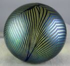Pulled Feather Iridescent Studio Art Glass Small Paperweight