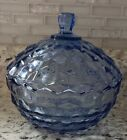 Vintage Blue Glass Candy Dish with Lid in the Americana Pattern