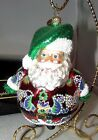 Christopher Radko Santa Claus Roly Poly Glitter Christmas Ornament w/ Box MIB