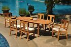 """7-Piece Outdoor Teak Dining Patio Set: 94"""" Oval Extension Table, 6 Chairs Osbo"""