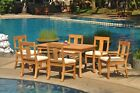 """7-Piece Outdoor Teak Dining Patio Set: 83"""" Rectangle Table, 6 Chairs Osbo"""