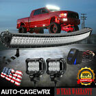 For Ford Dodge Chevy Jeep 50IN Curved Upper Windshied LED Light Bar+4 Pods Kit