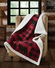 BLACK BEAR RED CHECKS SHERPA 50x60 THROW  QUILT BLANKET BUFFALO PLAID CABIN