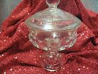 CLEAR KING CROWN THUMBPRINT COMPOTE DISH WITH LID (4E206)