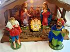 Vintage Plaster NATIVITY SET w Lighted Stable