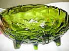 Vintage Indiana Glass Centerpiece, Green Harvest Fruit Footed Bowl, Good Cond.