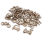 50x Blank Unfinished Wood Vehicle Bike Ship Train Shape Wooden Craft Tags
