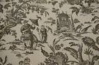 100 Linen Asian Toile Waverly Print 55 Upholstery Drapery Fabric Williamsburg