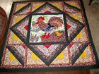 VINTAGE handmade PATCHWORK QUILT THROW ROOSTER W/ BABY CHICK fall floral backing