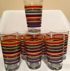 Libbey Striped (Mambo Fiesta?) Drinking Glasses 16 OZ LOT OF 8!