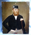 FINE ORIG 19TH CENTURY SCOTTISH NAIVE OIL PAINTING OF HIGHLANDER WITH GLENGARRY