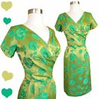Vintage 50s 60s Dress M L Green Floral Brocade Pinup Cocktail Party Sheath Gold