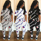 Women Tracksuits Sets Letter Print Stitching Two Piece Sportswear Jumpsuits Top