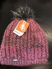 New Pistil Warm Women Avalon Knit Beanie Hat  Pink Gray Pom Pom Warm Thick Soft