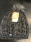 New Soft Pistil Warm Women Avalon Knit Beanie Hat Black Gray Pom Pom Warm Thick