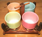 Set of 4 SIESTA WARE TEA COFFEE MUGS CUPS pastel/milk Glass/wood handles