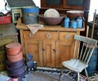 Antique 19th c Pine Jelly Cupboard with Glass Knobs *
