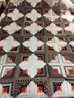 SHADOW LOG CABIN QUILT C. Late 1800s GREAT COLORS