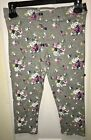 ABERCROMBIE & FITCH Grey Blue Pink Floral Legging Pants Sz Medium M Capri Women