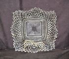 Old Vntage Indiana Clear Glass Diamond Point Ruffle Square Tidbit Candy Dish MCM