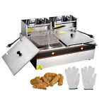 12L 5000W Stainless Steel Electric Deep Fryer Countertop Dual Tank Commercial