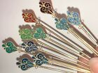 Set of 10 Hat or Stick Pins with Beautiful Enameled Ends, Sterling Silver