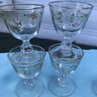 6 Vintage Libbey Marine Life Footed Cordial Glasses Gold Atomic Fish Green Waves