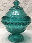 Teal Green glass wildflower pattern Covered Candy dish butter bowl floral daisy