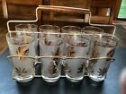 Set of Libby Gold Leaf Highball Glasses with Caddy - Vintage
