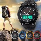 Men's Waterproof LED Analog Quartz Dual Time Solar Digital Sports Wrist Watch