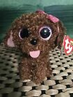 """Ty MADDIE -Curly Brown Poodle Dog 6"""" Beanie Boo! *Retired Exclusive* RARE"""