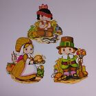 Vintage Beistle Thanksgiving Decorations 70s Paper Die Cut Pilgrims Native