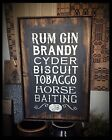 Handmade Heavily Distressed And Framed Sign-Advertising Rum Gin Brandy, EAAM