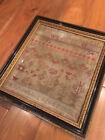 Victorian antique embroidery sampler dated 1852 by Mary Jopling aged 9. Framed.