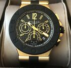 PRE OWNED  BVLGARI 42mm YELLOW GOLD AND RUBBER DIAGONO WATCH
