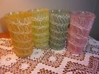 SET OF 4 VINTAGE 1960'S TUMBLERS RUBBER COATED DRIZZLE SPAGHETTI STRING GLASSES