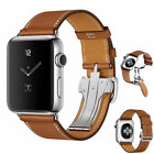 Genuine Leather Band Deployment Buckle Single Tour Bracelet Strap for iWatch 4/3