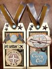 Premade Scrapbook Page SEWN Tags EmbellishSet of 2 Large Airplane Vacation