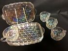 Set of 4 Vintage Federal Glass Iridescent Yorktown Thumbprint Snack