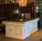 Antique Large Kitchen Island Distressed White Cottage Cabinet